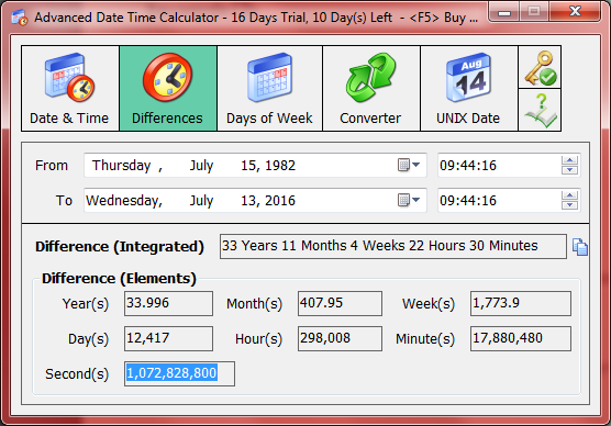 Date calculator between