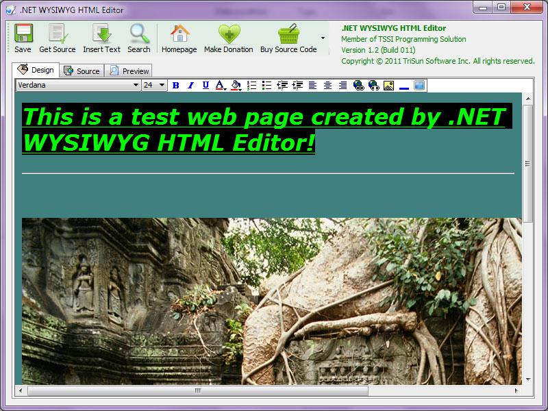 NET WYSIWYG HTML Editor (100% FREE, Produced by TriSun Software)