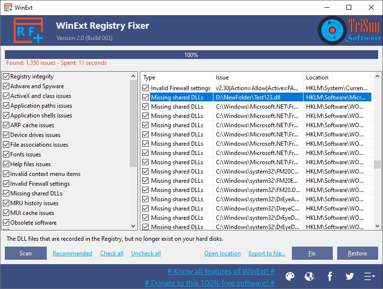 WinExt Registry Fixer full screenshot