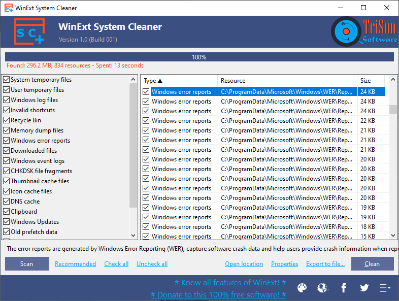 WinExt System Cleaner full screenshot